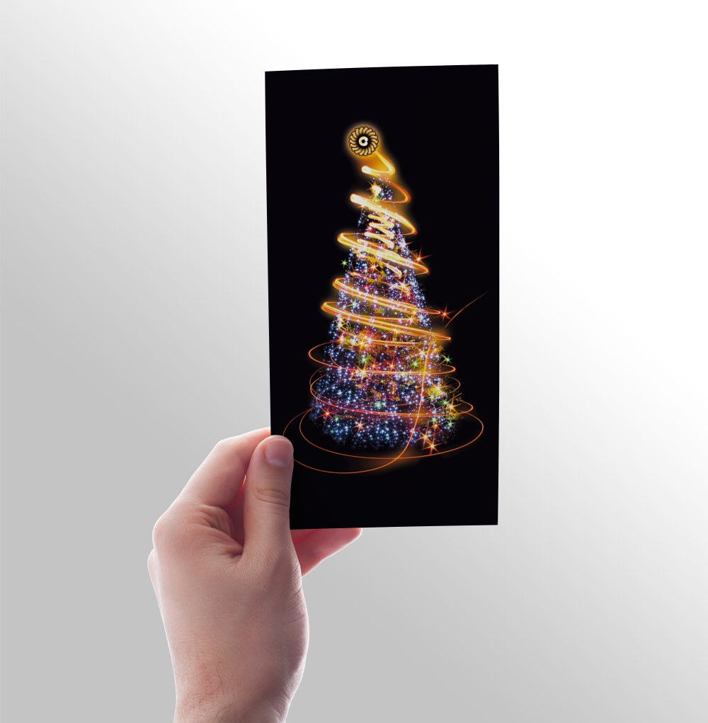 Client's requirement was to make a card on a black background: